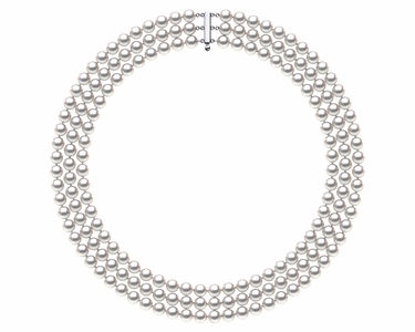 6.5 x 7mm Akoya Pearl Necklace Triple Strand