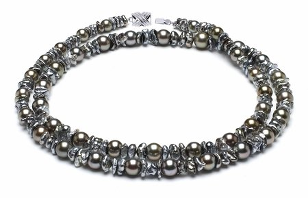 7.3mm x 10.9mm Keshi and Round Tahitian Pearl Opera