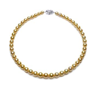 7.3 x 9.9mm Golden South Sea Pearl Necklace