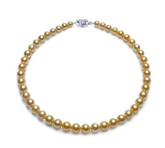 7.4 x 9.9mm Golden South Sea Pearl Necklace
