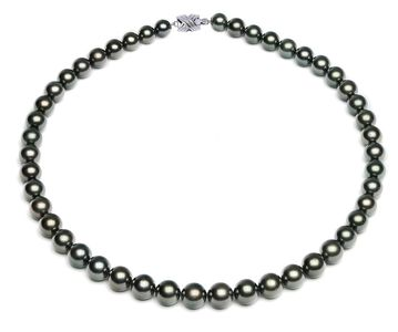 7.5 x 9.9mm Black Green Tahitian Pearl Necklace