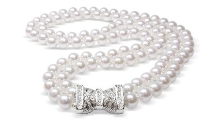 7.5x8 mm AA Quality Japanese Akoya Pearl Double Strand Necklace