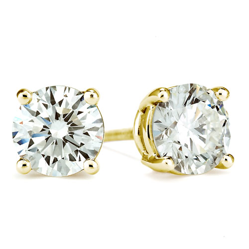 .75 Carats Yellow Gold Stud Earrings