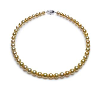 7mm x 9.9mm Golden South Sea Pearl Necklace