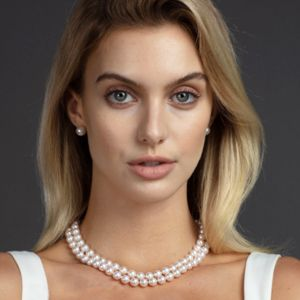 8.0 x 8.5mm Double-Strand White Akoya Pearl Necklace