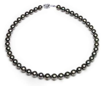 8.1 x 9.8mm Black Aubergine Tahitian Pearl Necklace