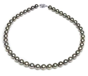 8.2 x 9.9mm Grey Green Tahitian Pearl Necklace