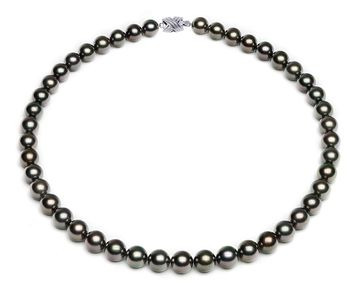 8.3 x 9.9mm Dark Peacock Tahitian Pearl Necklace