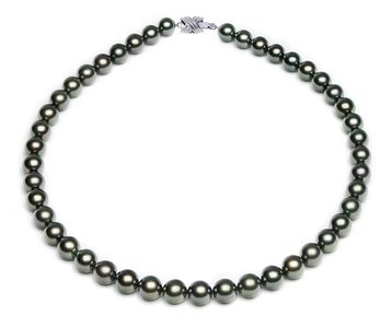 8.3 x 9.9mm Green Tahitian Pearl Necklace