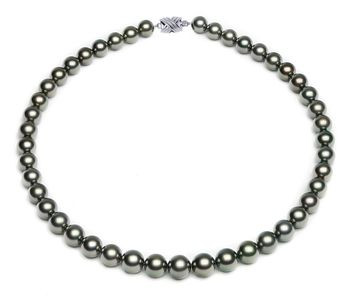 8.4 x 10.6mm Peacock Tahitian Pearl Necklace