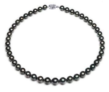 8 x 10.5mm Dark Black Tahitian Pearl Necklace