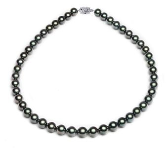 8 x 9.8mm Dark Black Tahitian Pearl Necklace