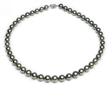 8 x 9.9mm Black Green Tahitian Pearl Necklace