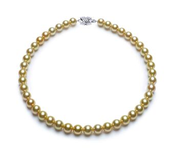 9 x 9.9mm Golden South Sea Pearl Necklace