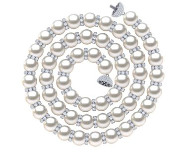 Akoya Pearl Diamond Rondell Necklace | Every Other Pearl