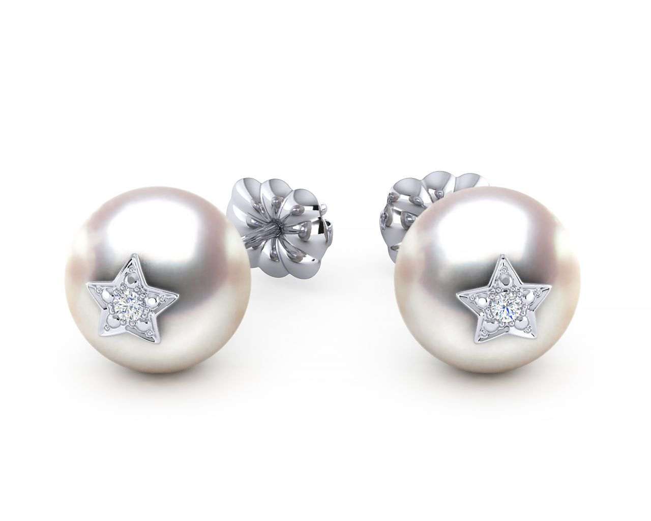 Akoya Pearl Amp Diamond Star Studded Emoji Earring