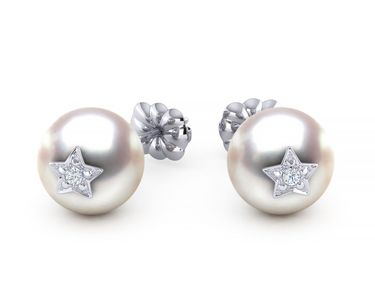 Akoya Pearl & Diamond Star Studded Emoji Earring