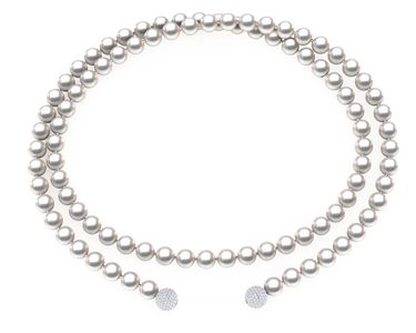 Akoya Pearl Lariat Necklace with Diamond Spheres