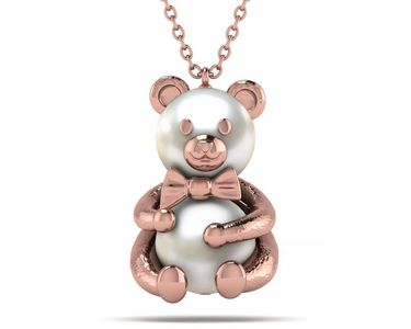 Akoya Pearl Teddy Bear Hugging Necklace