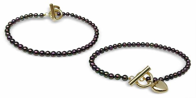 Black Freshwater Pearl Bracelet with Heart Toggle - $99