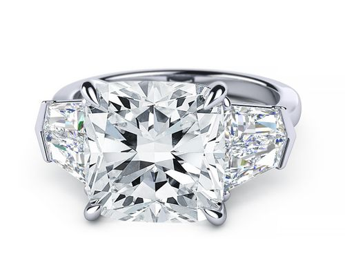 5 carat Cushion Cut Diamond flanked by custom Tapered Baguettes
