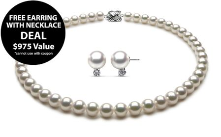 Deal - Free Akoya Pearl & Diamond Earring with 8 x 8.5mm Akoya Pearl Necklace