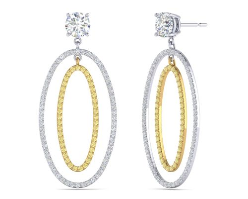 Double Oval Hoop Fancy Light Yellow Diamond Earring Jacket