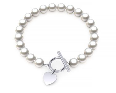 Freshwater Pearl Silver Heart Toggle Bracelet
