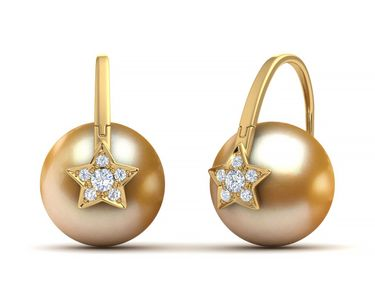 Golden Pearl Arc De Triomphe Shooting Star Earring