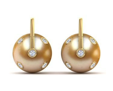 Golden Pearl Arc De Triomphe Starry Night Earring