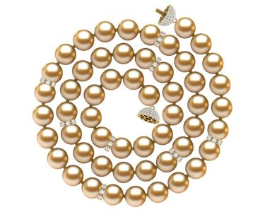Golden South Sea Pearl Diamond Rondell Necklace