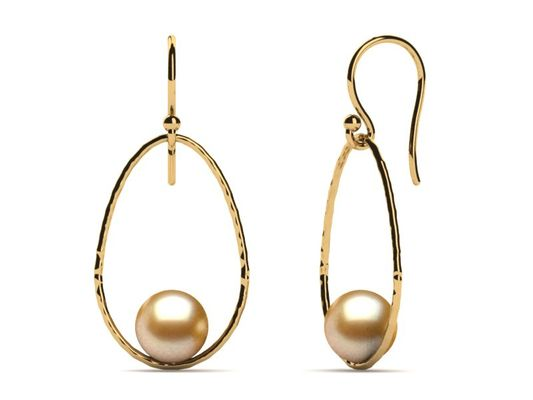 Golden Pearl Earring Open Drop Hoop Hammered