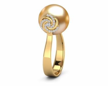 Golden Pearl Knot Ring