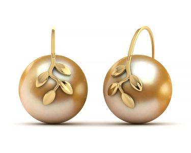 Golden Pearl Olive Branch Earring