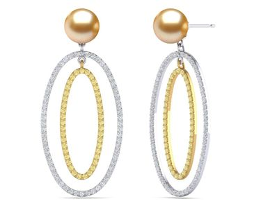 Golden South Sea Oval Double Hoop Earring