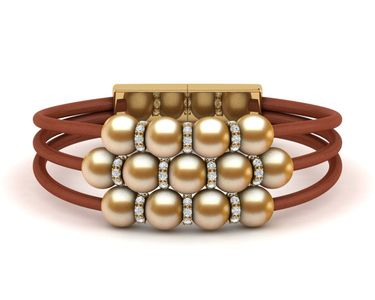 Golden Pearl Rondell Leather Bracelet