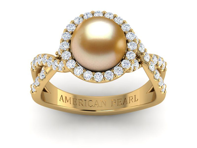 Golden Pearl South Sea Flow Ring American Pearl