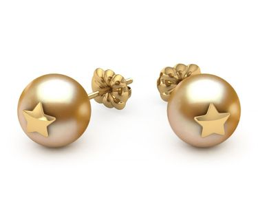Golden Pearl Star Studded Earring