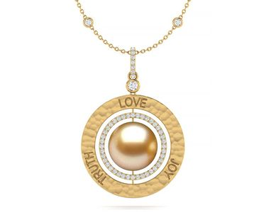 Golden South Sea Love Truth Joy Amulet Necklace