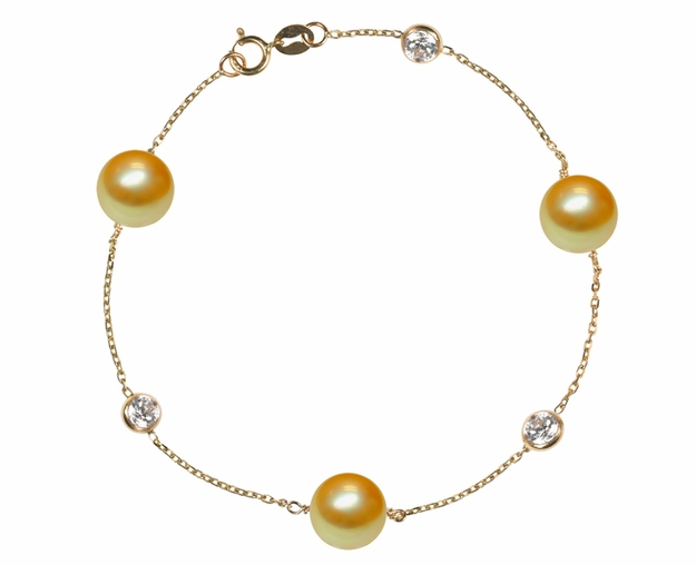 Golden South Sea Pearl and Diamond Bracelet