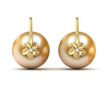 Golden South Sea Pearl Arc De Triomphe Hibiscus Earring