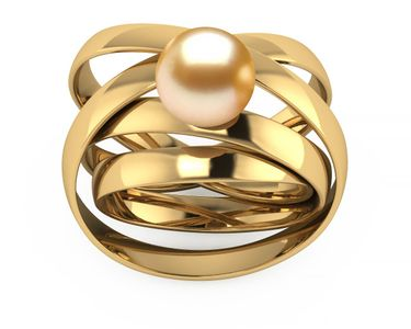 Golden South Sea Pearl Atomic Ring