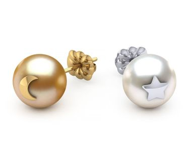 Golden & White Pearl Star and Moon Emoji Earring