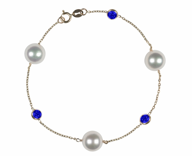 Japanese Akoya Pearl and Sapphire Bracelet