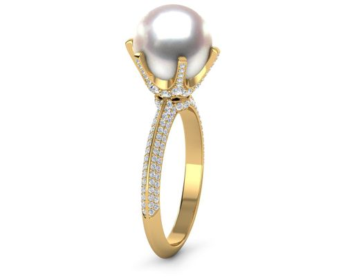 Knife Edge 6 Prong Pave Pearl Engagement Ring