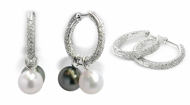 Micro Pavé Hoop Earrings with White or Black South Sea Cultured Pearls