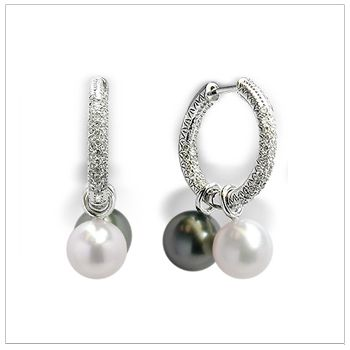Micro Pav� Hoop Earrings with White or Black South Sea Cultured Pearls