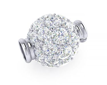 Multi Size Diamond Ball Clasp in White Gold