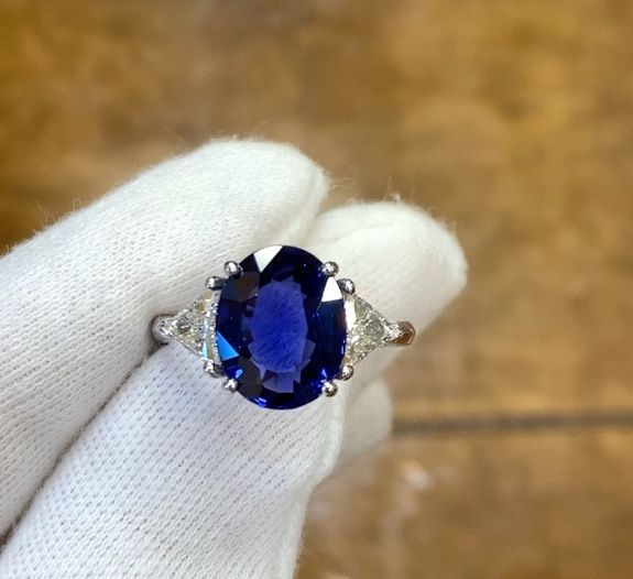 Oval Sapphire & Trillion Diamond Engagement Ring