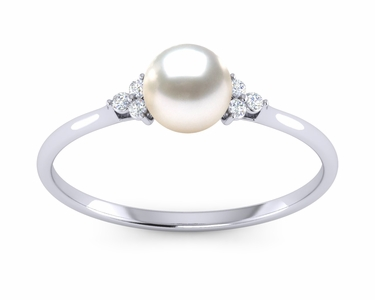 Petite Princess White Akoya Pearl Ring